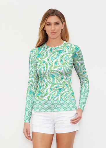 Coastal Paisley Lace Green (7690) ~ Long Sleeve Rash Guard