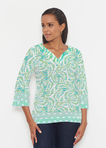 Coastal Paisley Lace Green (7690) ~ Banded 3/4 Bell-Sleeve V-Neck Tunic