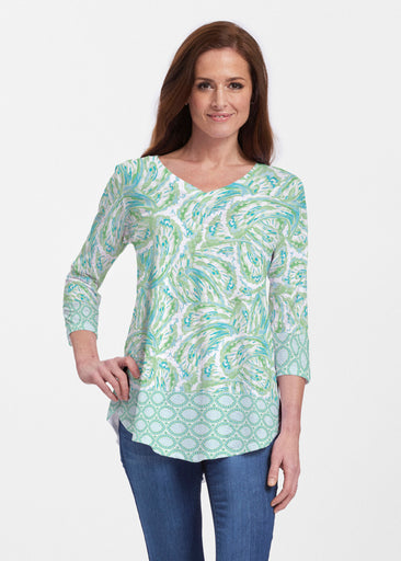 Coastal Paisley Lace Green (7690) ~ Signature V-neck Flowy Tunic
