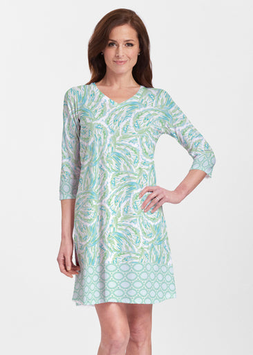 Coastal Paisley Lace Green (7690) ~ Classic V-neck Swing Dress