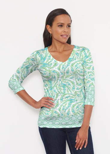 Coastal Paisley Lace Green (7690) ~ Signature 3/4 V-Neck Shirt