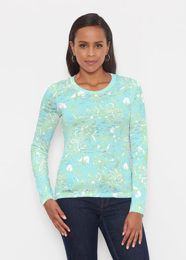Lace Floral Aqua (7693) ~ Signature Long Sleeve Crew Shirt