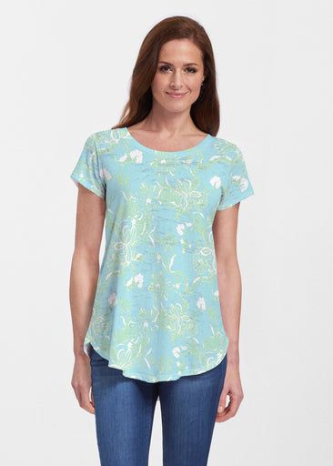Lace Floral Aqua (7693) ~ Signature Short Sleeve Scoop Neck Flowy Tunic
