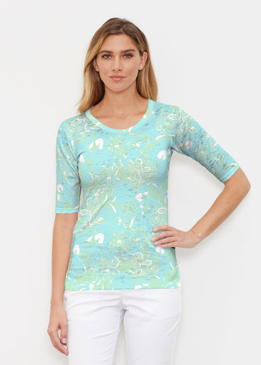 Lace Floral Aqua (7693) ~ Elbow Sleeve Crew Shirt