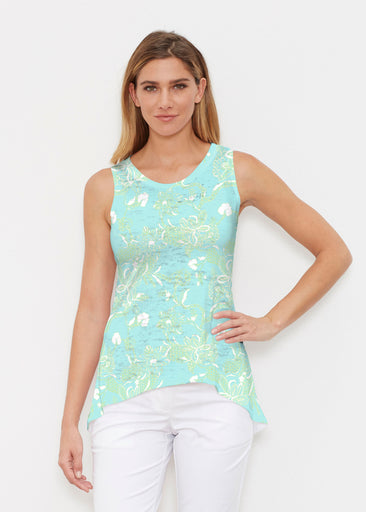 Lace Floral Aqua (7693) ~ Signature High-low Tank