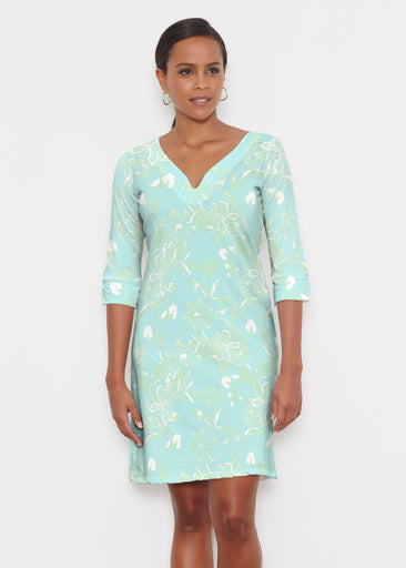 Lace Floral Aqua (7693) ~ Classic 3/4 Sleeve Sweet Heart V-Neck Dress