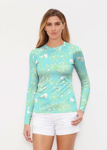 Lace Floral Aqua (7693) ~ Long Sleeve Rash Guard
