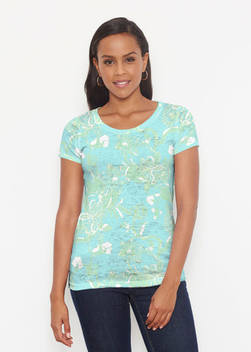 Lace Floral Aqua (7693) ~ Signature Short Sleeve Scoop Shirt