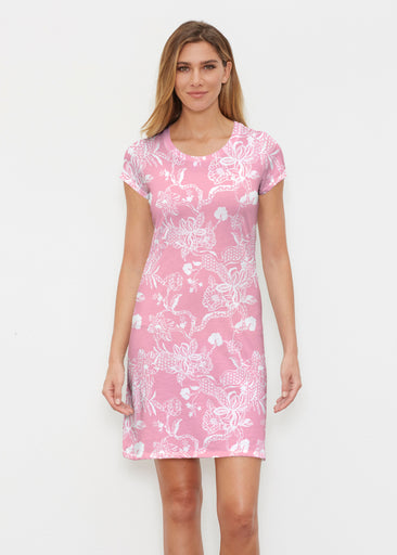 Lace Floral Pink (7694) ~ Classic Crew Dress