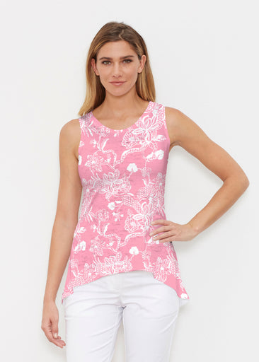 Lace Floral Pink (7694) ~ High-low Tank