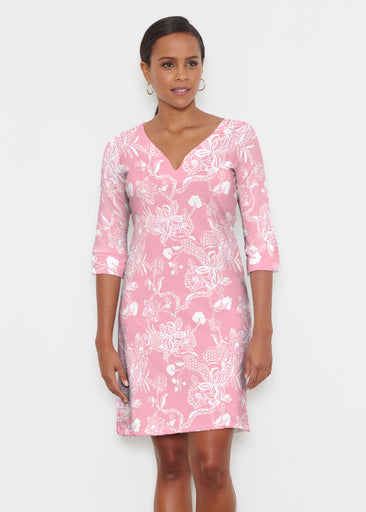 Lace Floral Pink (7694) ~ Classic 3/4 Sleeve Sweet Heart V-Neck Dress