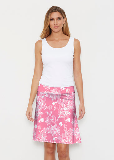 Lace Floral Pink (7694) ~ Silky Brenda Skirt 21 inch