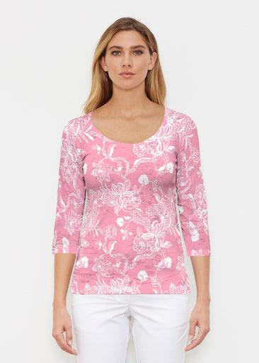Lace Floral Pink (7694) ~ Signature 3/4 Sleeve Scoop Shirt