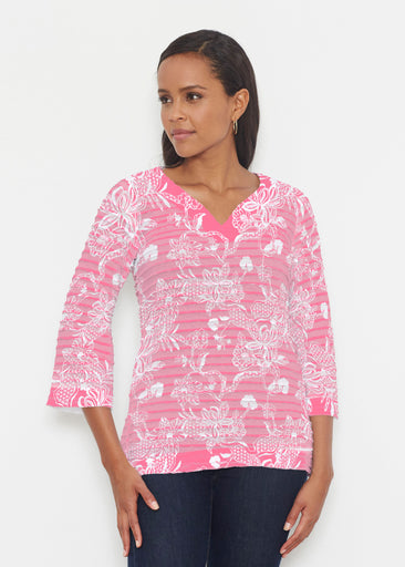 Lace Floral Pink (7694) ~ Banded 3/4 Bell-Sleeve V-Neck Tunic