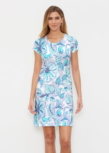 Baltic Watercolor Aqua (7696) ~ Classic Crew Dress
