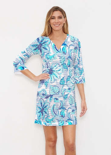 Baltic Watercolor Aqua (7696) ~ Banded 3/4 Sleeve Cover-up Dress