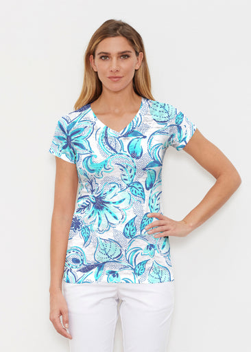 Baltic Watercolor Aqua (7696) ~ Signature Cap Sleeve V-Neck Shirt