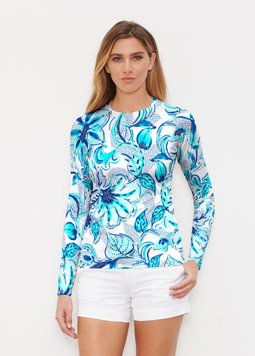 Baltic Watercolor Aqua (7696) ~ Long Sleeve Rash Guard