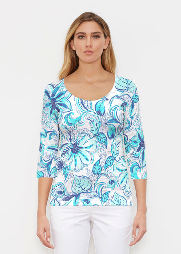 Baltic Watercolor Aqua (7696) ~ Signature 3/4 Sleeve Scoop Shirt