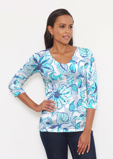 Baltic Watercolor Aqua (7696) ~ Signature 3/4 V-Neck Shirt