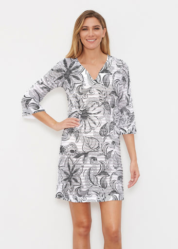 Baltic Watercolor Black (7697) ~ Banded 3/4 Sleeve Cover-up Dress