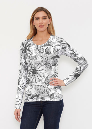 Baltic Watercolor Black (7697) ~ Thermal Long Sleeve Crew Shirt