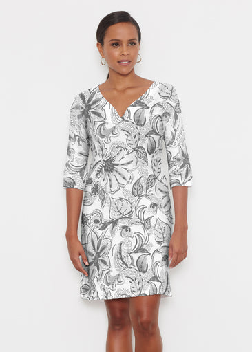 Baltic Watercolor Black (7697) ~ Classic 3/4 Sleeve Sweet Heart V-Neck Dress