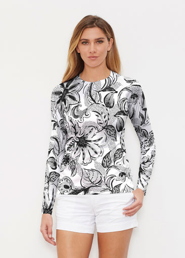 Baltic Watercolor Black (7697) ~ Long Sleeve Rash Guard