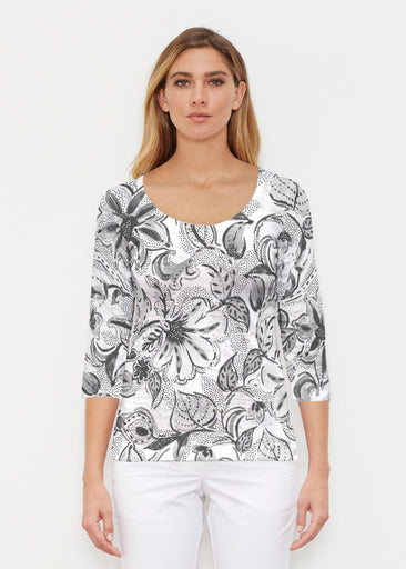 Baltic Watercolor Black (7697) ~ Signature 3/4 Sleeve Scoop Shirt