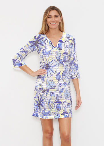 Baltic Watercolor Navy-Yellow (7698) ~ Banded 3/4 Sleeve Cover-up Dress