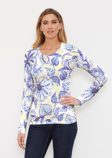 Baltic Watercolor Navy-Yellow (7698) ~ Thermal Long Sleeve Crew Shirt