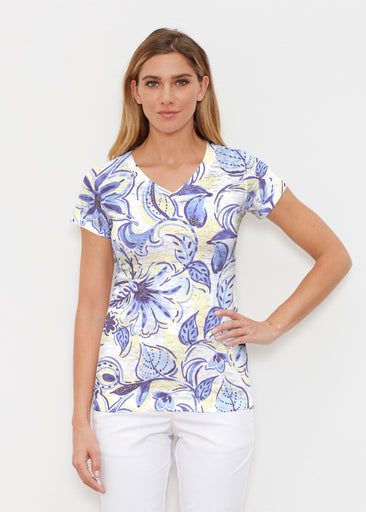 Baltic Watercolor Navy-Yellow (7698) ~ Signature Cap Sleeve V-Neck Shirt