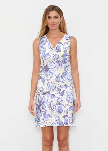 Baltic Watercolor Navy-Yellow (7698) ~ Classic Sleeveless Dress