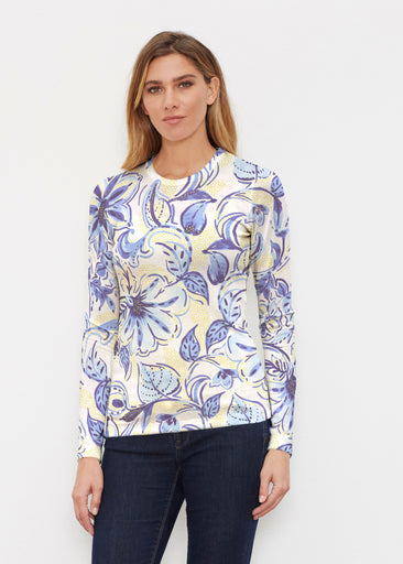 Baltic Watercolor Navy-Yellow (7698) ~ Butterknit Long Sleeve Crew Top