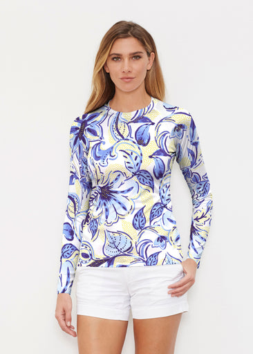 Baltic Watercolor Navy-Yellow (7698) ~ Long Sleeve Rash Guard