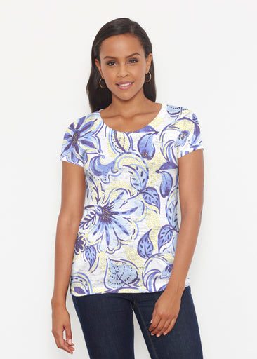 Baltic Watercolor Navy-Yellow (7698) ~ Short Sleeve Scoop Shirt