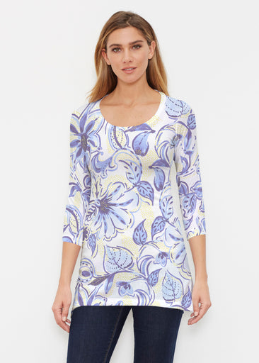 Baltic Watercolor Navy-Yellow (7698) ~ Buttersoft 3/4 Sleeve Tunic