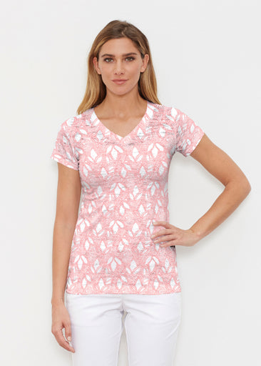 Dottie Coral (7699) ~ Signature Cap Sleeve V-Neck Shirt