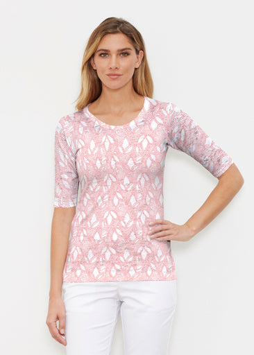 Dottie Coral (7699) ~ Elbow Sleeve Crew Shirt