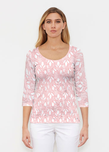 Dottie Coral (7699) ~ Signature 3/4 Sleeve Scoop Shirt