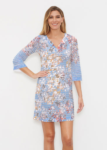 Floral Burst Blue (7710) ~ Banded 3/4 Sleeve Cover-up Dress