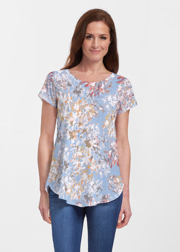 Floral Burst Blue (7710) ~ Signature Short Sleeve Scoop Neck Flowy Tunic