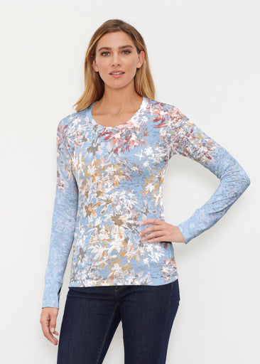 Floral Burst Blue (7710) ~ Thermal Long Sleeve Crew Shirt