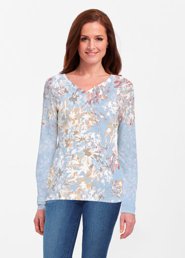 Floral Burst Blue (7710) ~ Classic V-neck Long Sleeve Top