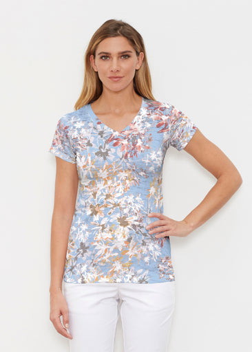 Floral Burst Blue (7710) ~ Signature Cap Sleeve V-Neck Shirt