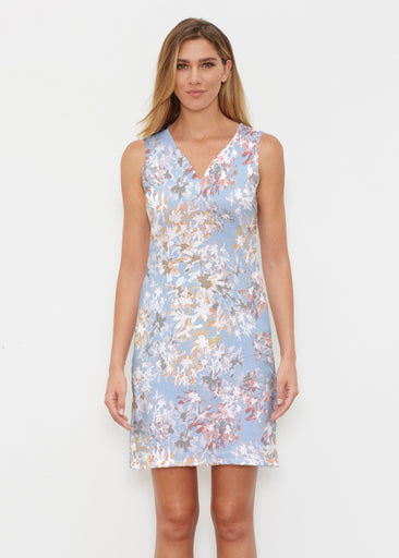 Floral Burst Blue (7710) ~ Classic Sleeveless Dress