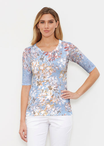 Floral Burst Blue (7710) ~ Elbow Sleeve Crew Shirt