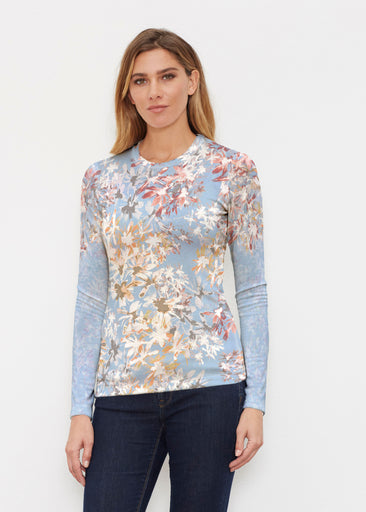 Floral Burst Blue (7710) ~ Butterknit Long Sleeve Crew Top