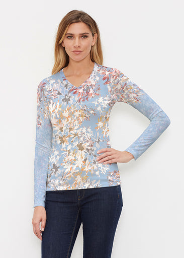 Floral Burst Blue (7710) ~ Butterknit Long Sleeve V-Neck Top