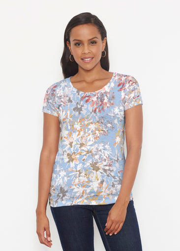 Floral Burst Blue (7710) ~ Short Sleeve Scoop Shirt